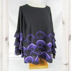 Alfani Blouse Top Black Purple Plus Size 2X L/S